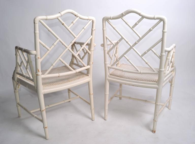 Cane Hollywood Regency Faux Bamboo Chippendale Armchairs, Pair For Sale