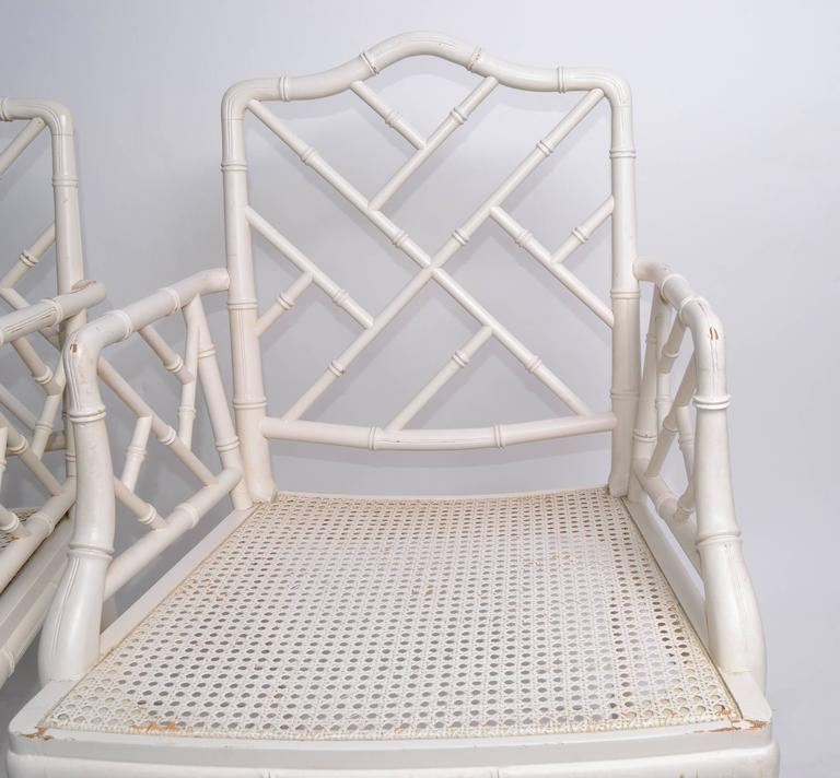 Hollywood Regency Faux Bamboo Chippendale Armchairs, Pair For Sale 2