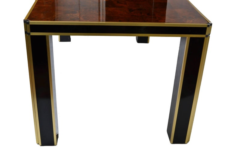 Mid-Century Modern Romeo Rega Brass and Burl Wood Dining Table For Sale