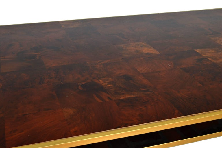 Italian Romeo Rega Brass and Burl Wood Dining Table For Sale