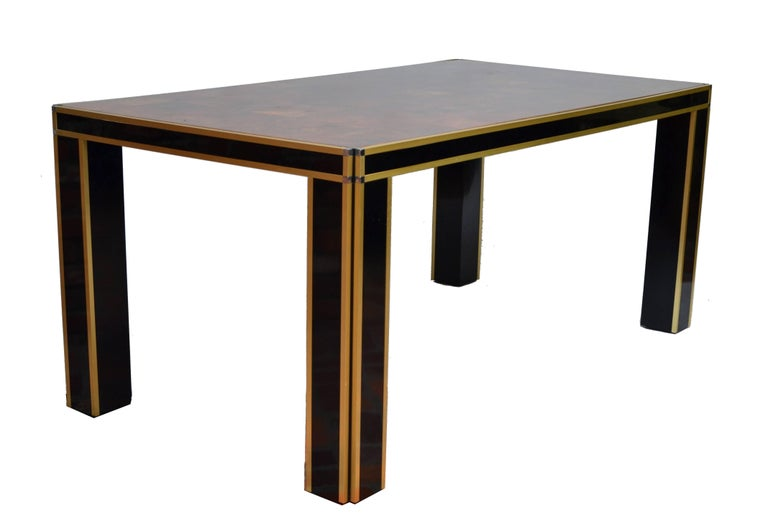 Romeo Rega dining room table in brass and burl wood.