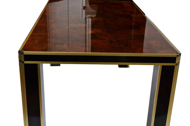 Romeo Rega Brass and Burl Wood Dining Table For Sale 1
