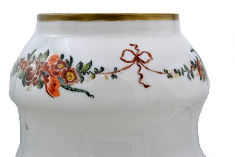 French Sevres Opaline Gl Vase with Handpainted Gold Trim and ... on