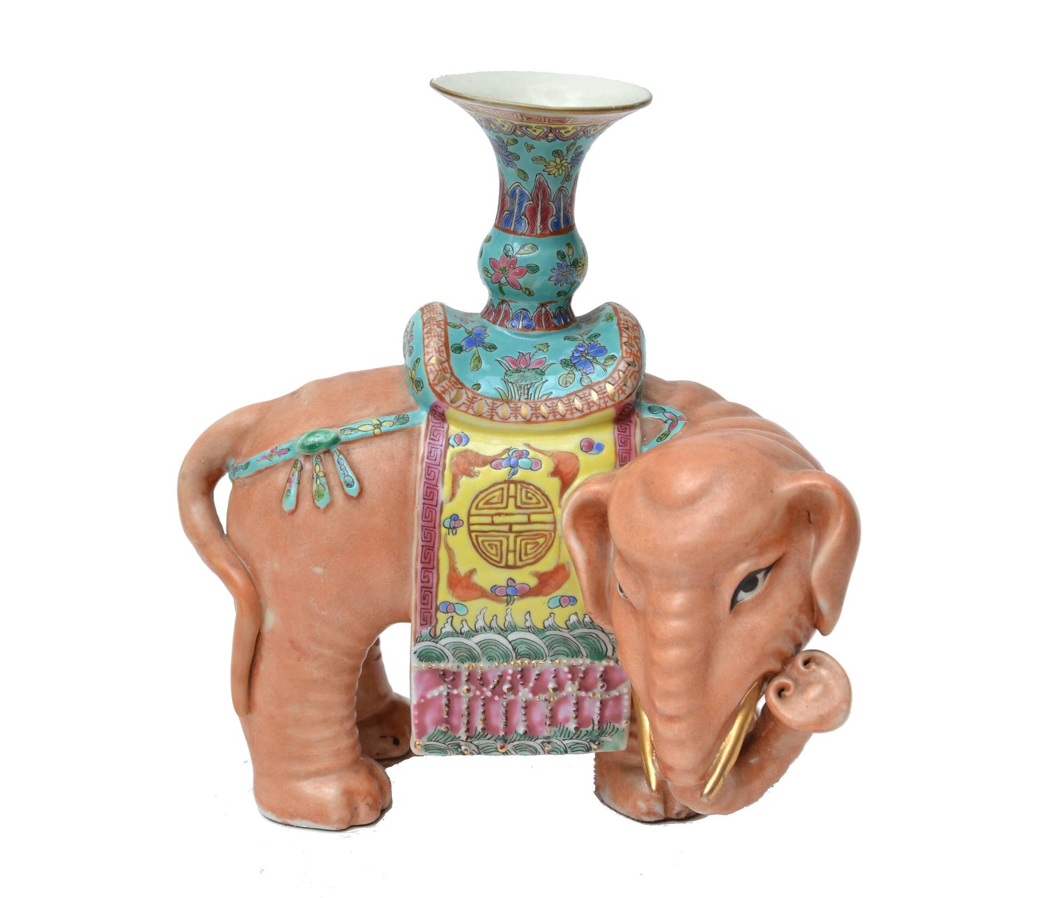 Chinese Elephant Sculpture, Signed For Sale at 1stdibs