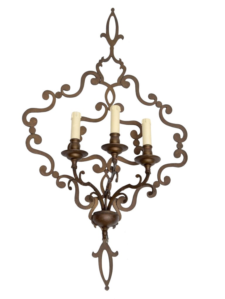 Italian Wrought Iron Applique, Wall Sconce In Good Condition For Sale In North Miami, FL