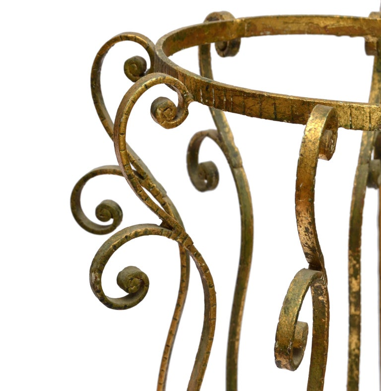 Hand-Crafted Art Deco Style Gilt Umbrella Stand by Pier Luigi Colli  For Sale