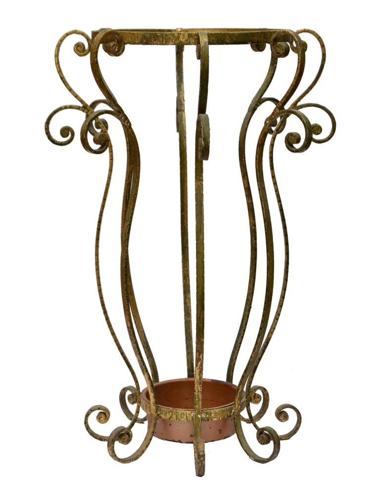 Metal Art Deco Style Gilt Umbrella Stand by Pier Luigi Colli  For Sale
