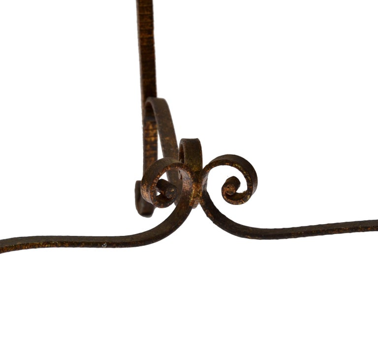 Italian Wrought Iron Gilt Finished Tabouret For Sale At