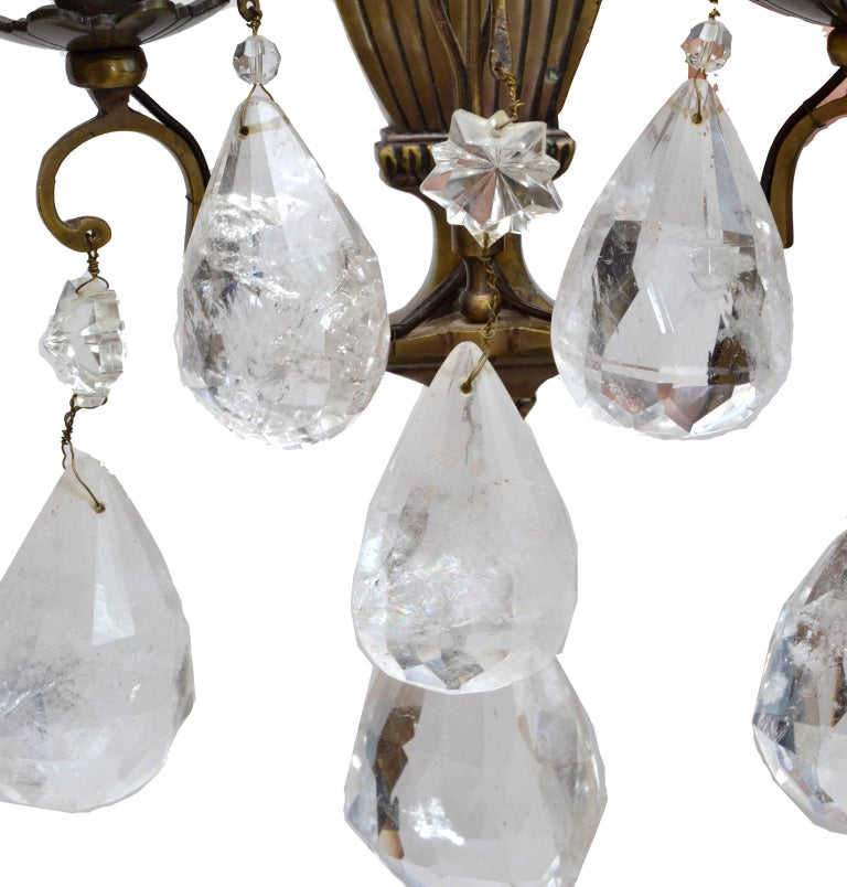 French Bohemian Rock Crystal and Bronze Wall Sconces, a Pair For Sale