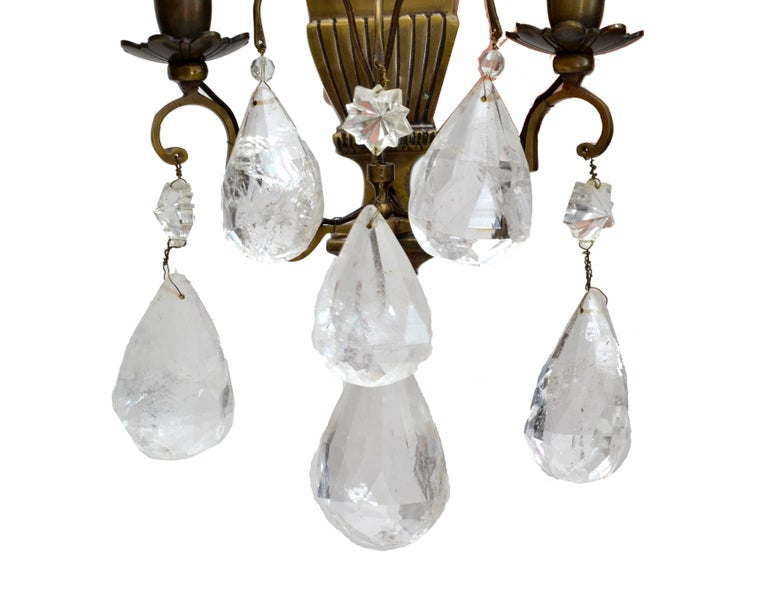 Early 20th Century Bohemian Rock Crystal and Bronze Wall Sconces, a Pair For Sale