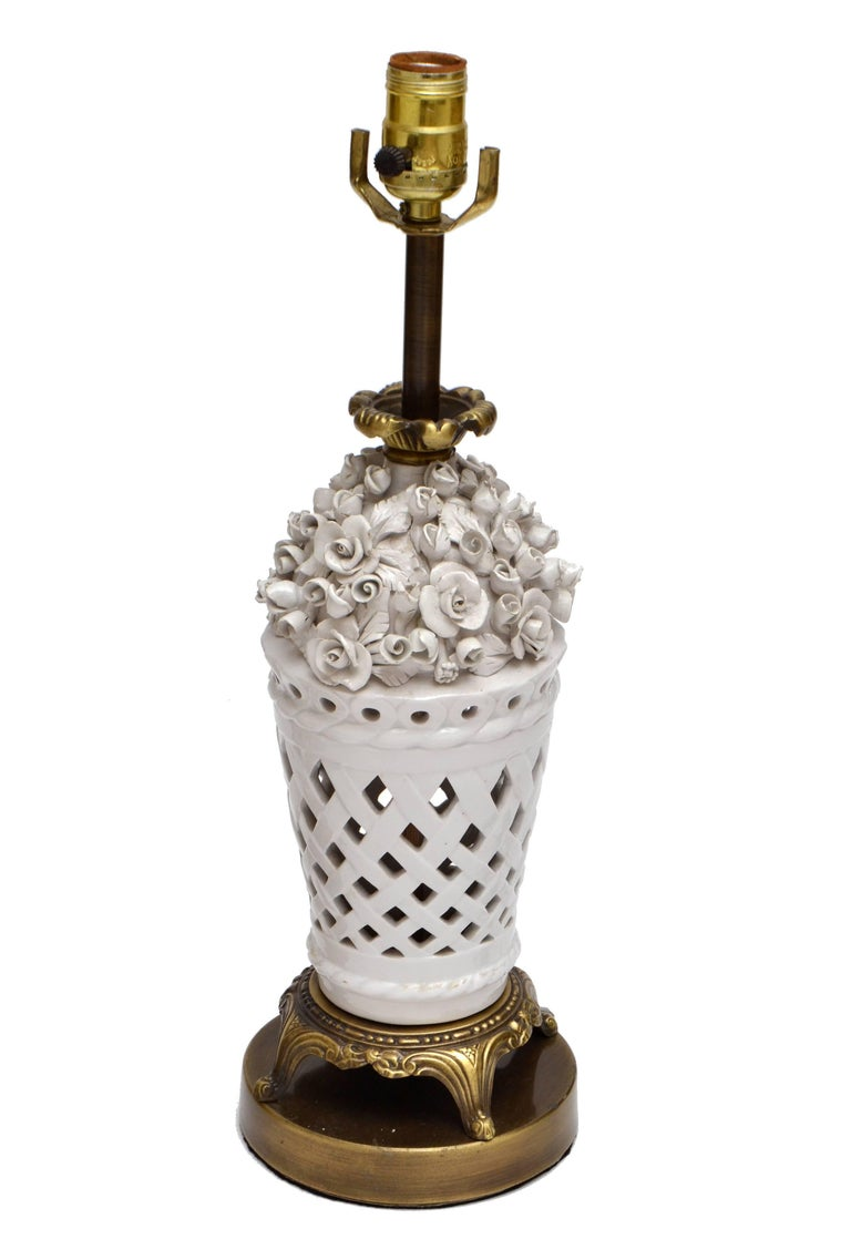 Italian Porcelain and Bronze Table Lamps with Flowers, Pair For Sale