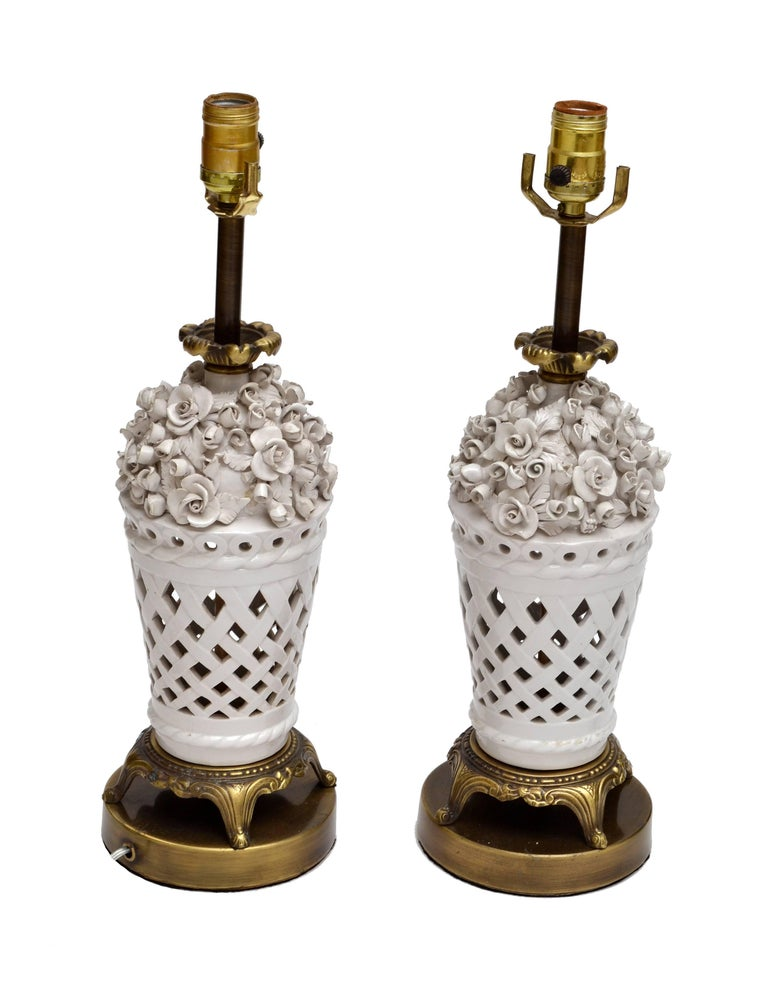 Metal Porcelain and Bronze Table Lamps with Flowers, Pair For Sale