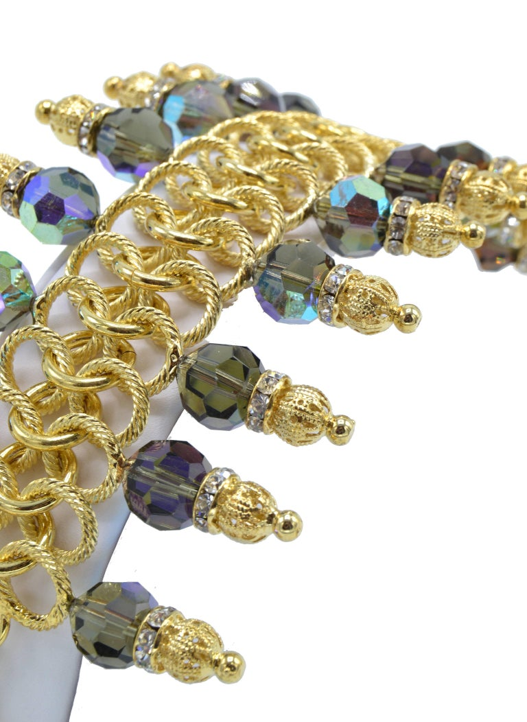 Modern Justin Joy Costume Runway Bracelet in Gold Leaf and Blue Stones, Italy For Sale