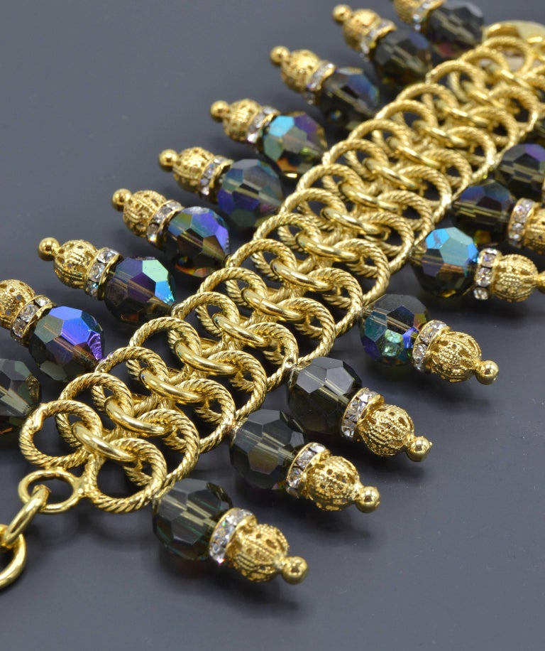Italian Justin Joy Costume Runway Bracelet in Gold Leaf and Blue Stones, Italy For Sale