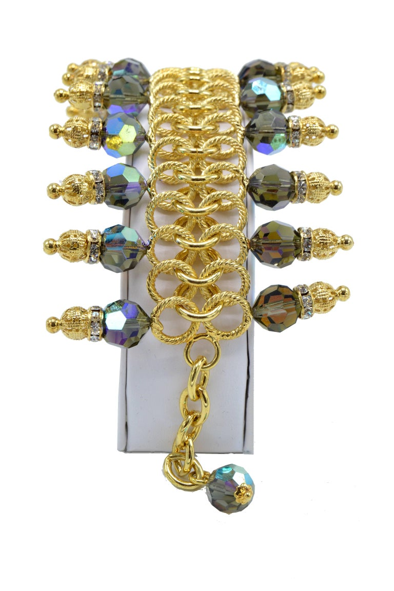 Justin Joy Costume Runway Bracelet in Gold Leaf and Blue Stones, Italy In Good Condition For Sale In Miami, FL