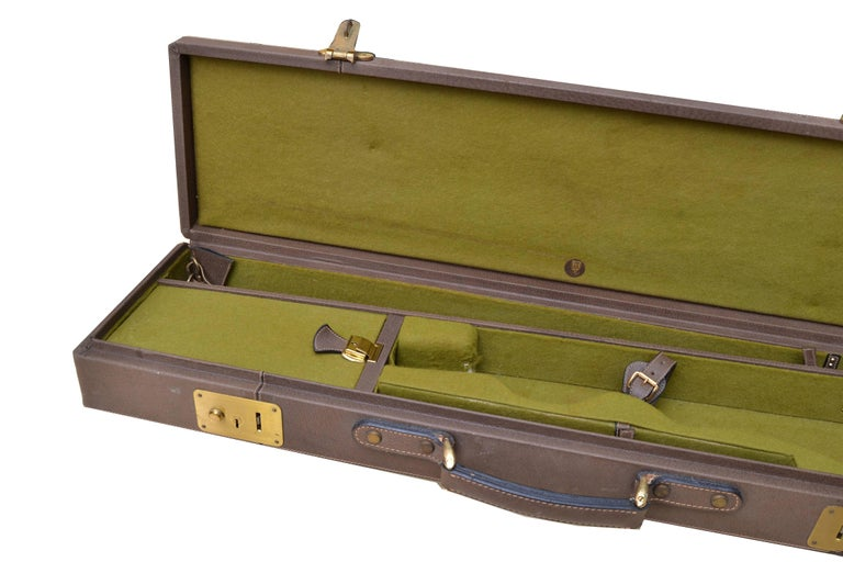 Post-Modern Original Gucci Shotgun Case in Leather and Brass For Sale
