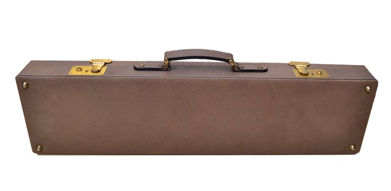 Original Gucci Shotgun Case in Leather and Brass For Sale 4