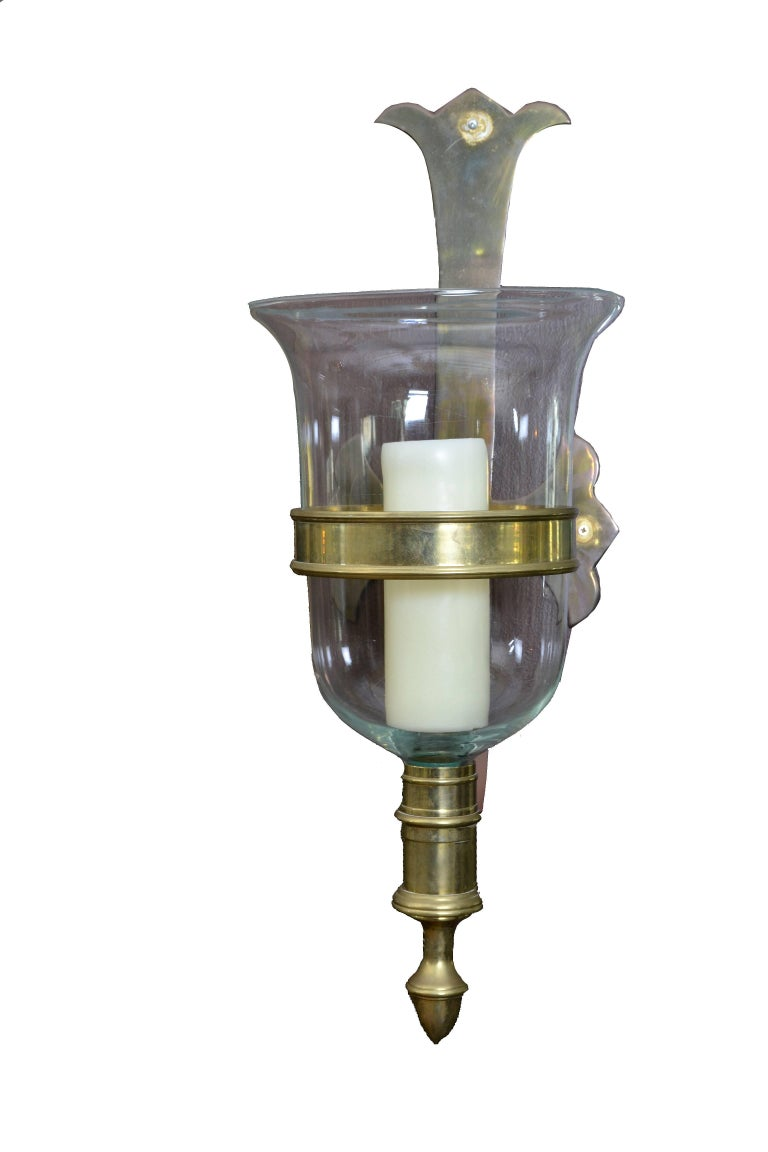 Spanish Sarreid Bronze and Glass Hurricane Lamps, a Pair For Sale