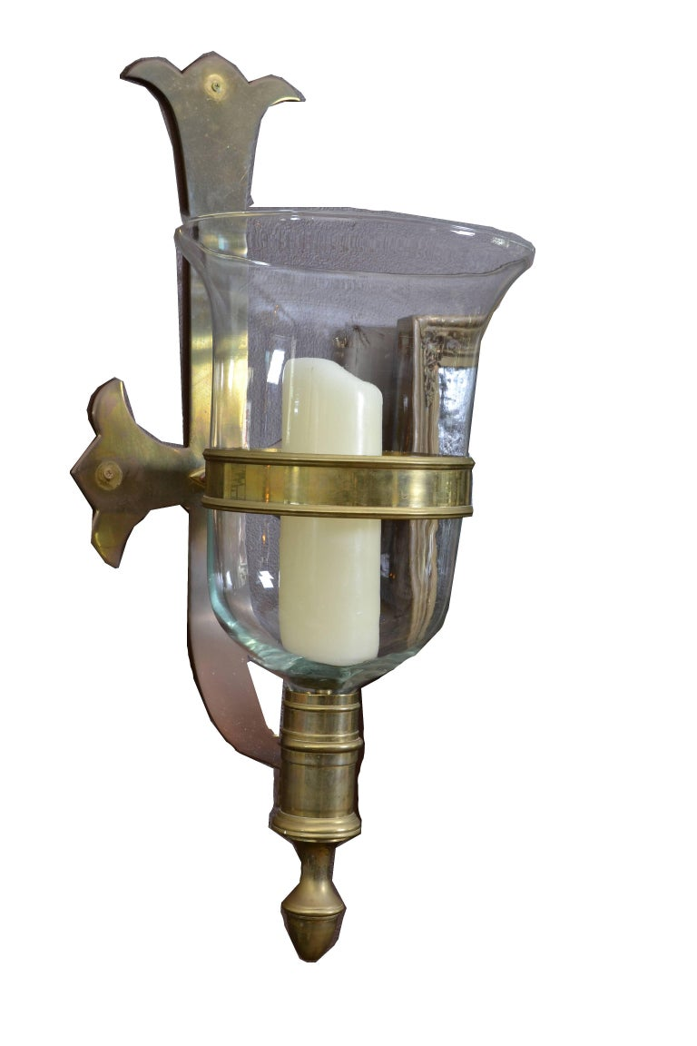 Sarreid Bronze and Glass Hurricane Lamps, a Pair In Good Condition For Sale In North Miami, FL