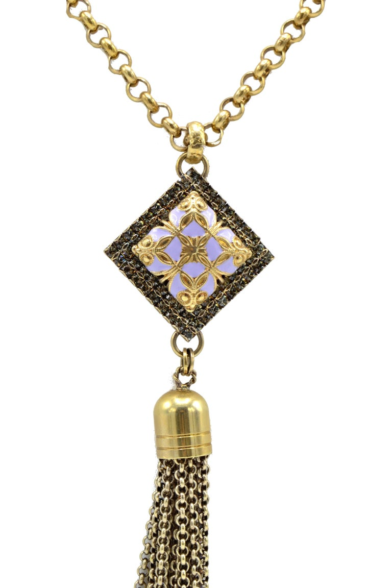 Modern Long Vintage Pendant Golden Brass and Purple Stone Necklace For Sale