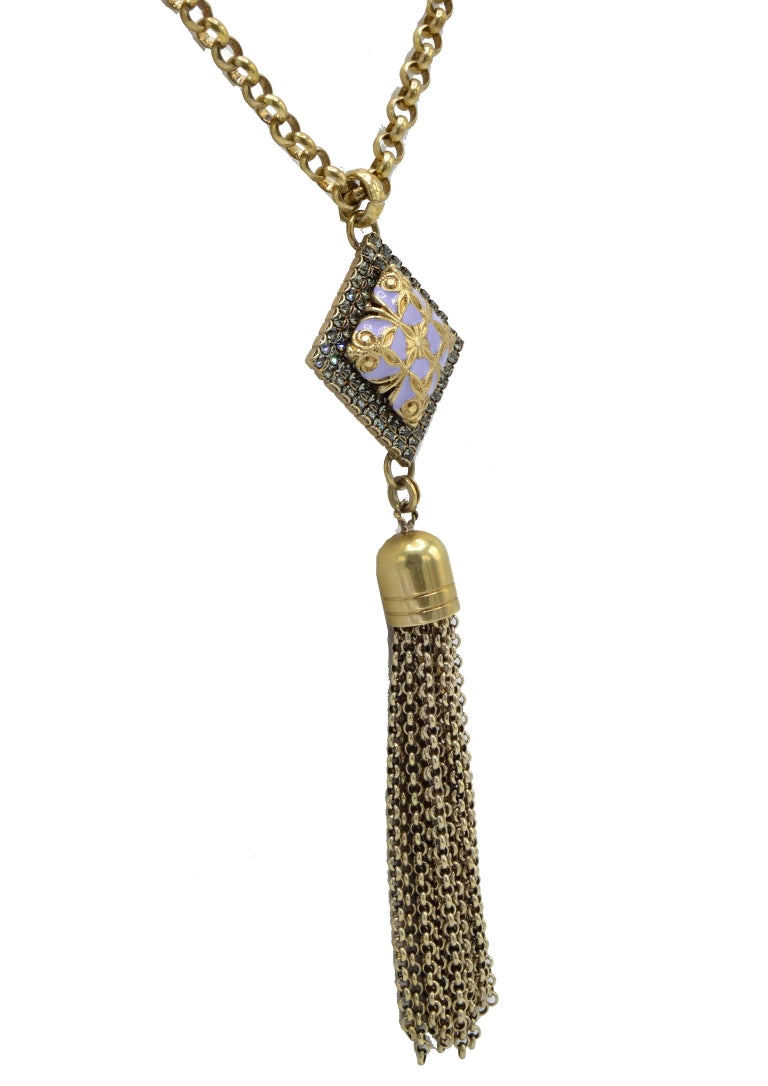 Italian Long Vintage Pendant Golden Brass and Purple Stone Necklace For Sale