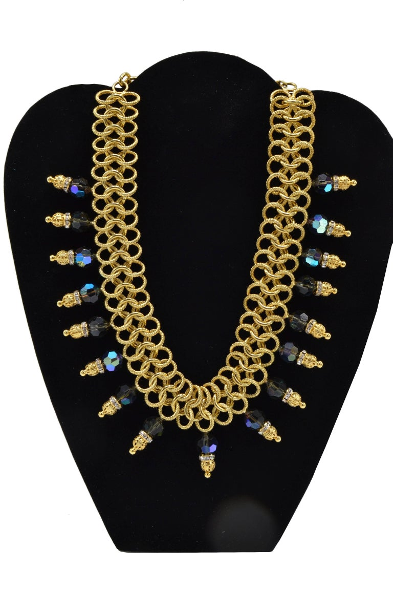 Modern Italian Costume Runway Necklace in Gold and Blue by Justin Joy For Sale