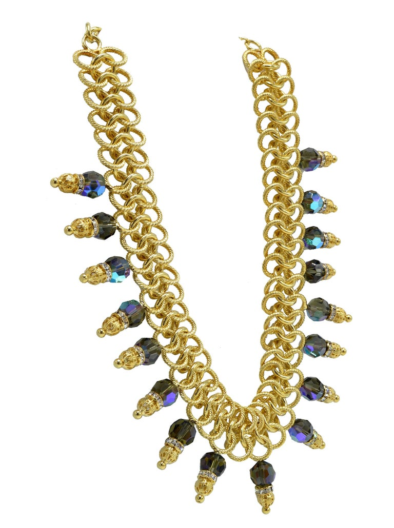 Italian Costume Runway Necklace in Gold and Blue by Justin Joy In Excellent Condition For Sale In North Miami, FL