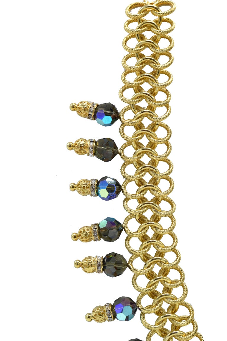 Contemporary Italian Costume Runway Necklace in Gold and Blue by Justin Joy For Sale