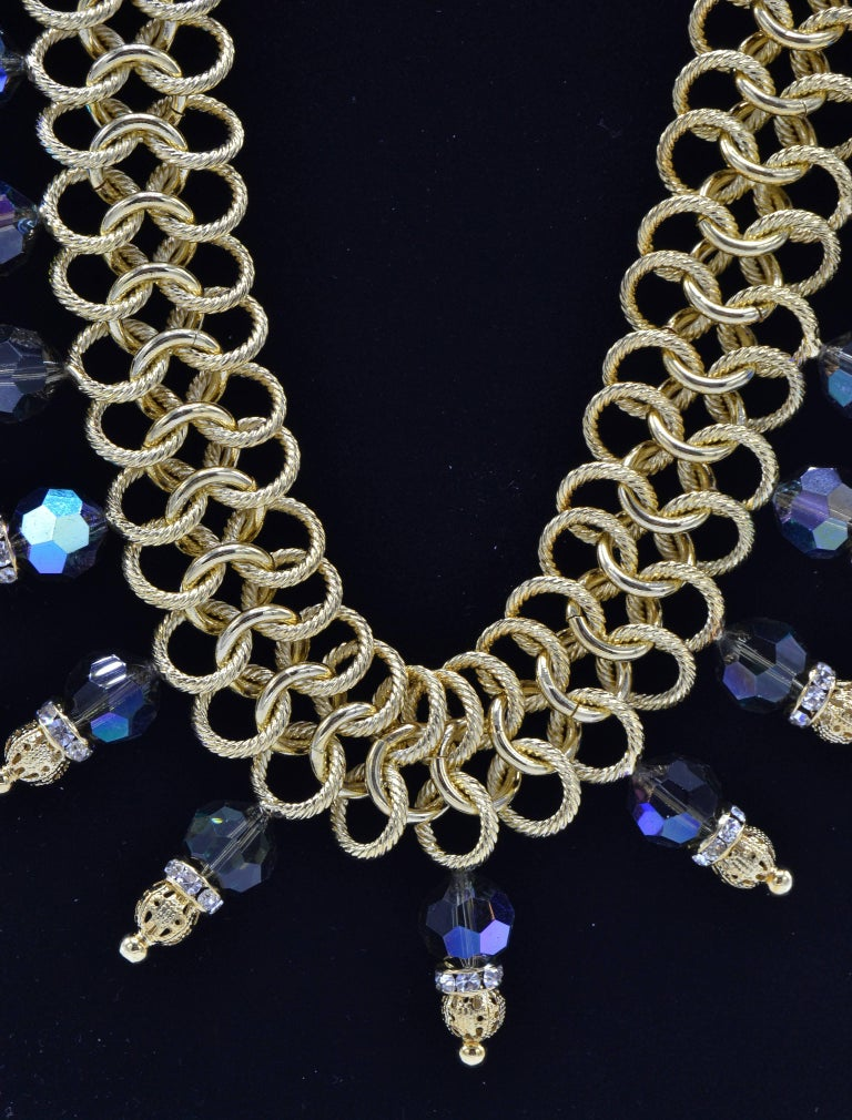 Italian Costume Runway Necklace in Gold and Blue by Justin Joy For Sale 1