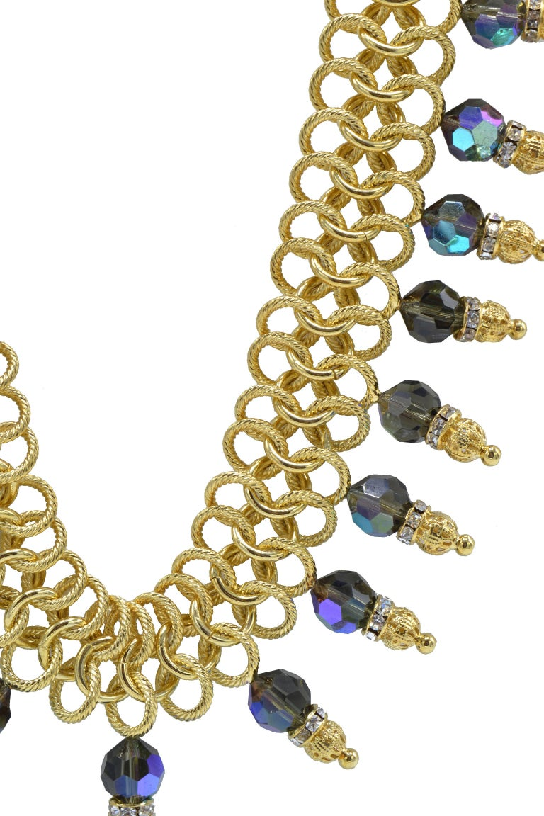 Italian Costume Runway Necklace in Gold and Blue by Justin Joy For Sale 2