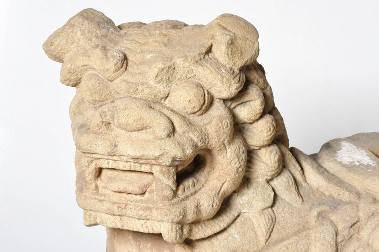 Carved Pair of Chinese Stone Guardian Lions For Sale