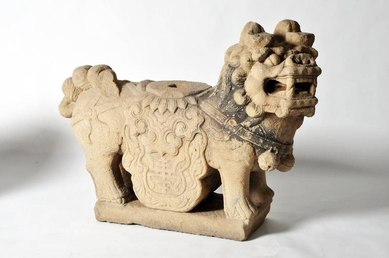 Pair of Chinese Stone Guardian Lions For Sale 1