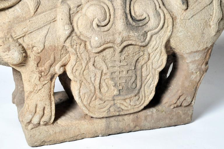 Limestone Pair of Chinese Stone Guardian Lions For Sale