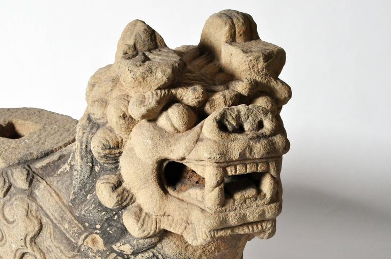 Pair of Chinese Stone Guardian Lions For Sale 2