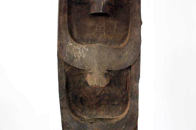 20th Century Monumental Morung Carving with Leaf Muntjac and Four Mithun Head Decoration For Sale