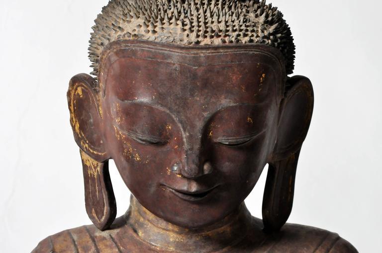 Gold Leaf Shan Burmese Buddha Figure For Sale