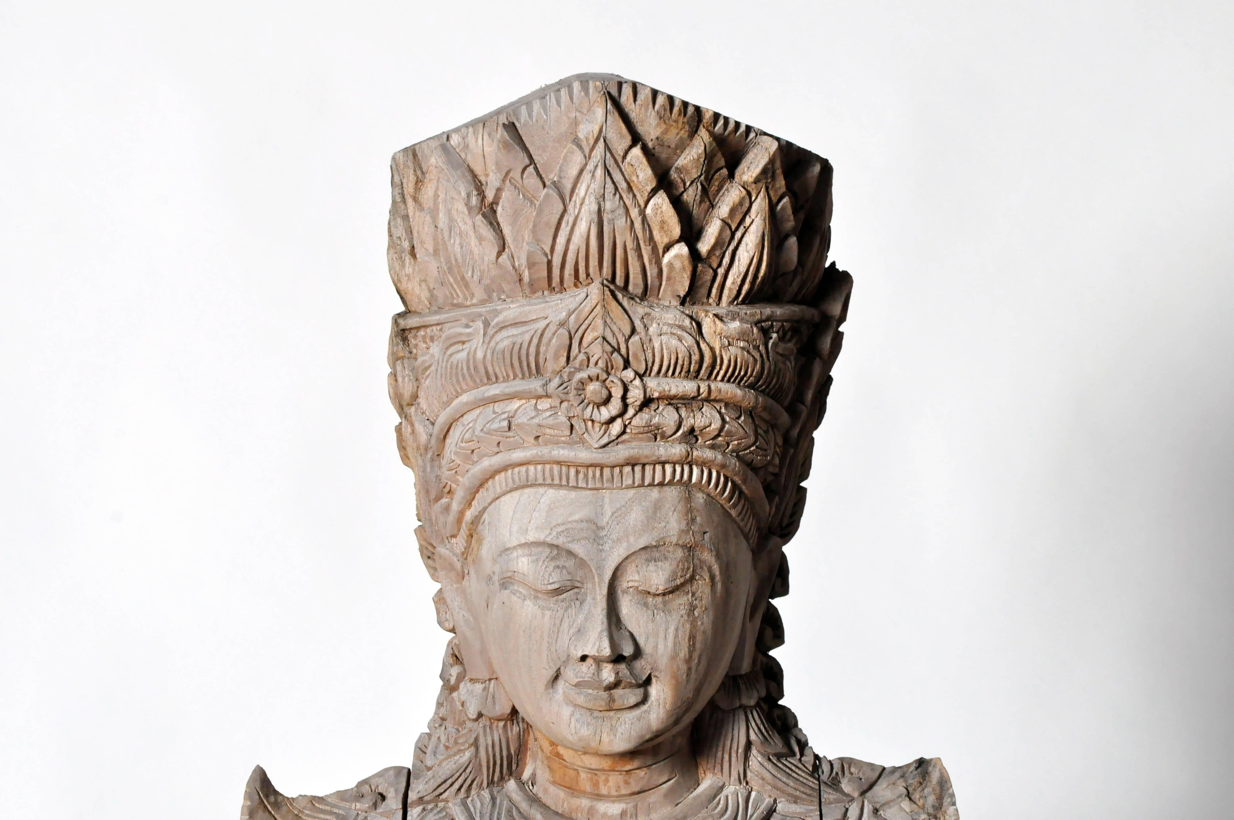 Hand-Carved Cambodian Statue at 1stdibs