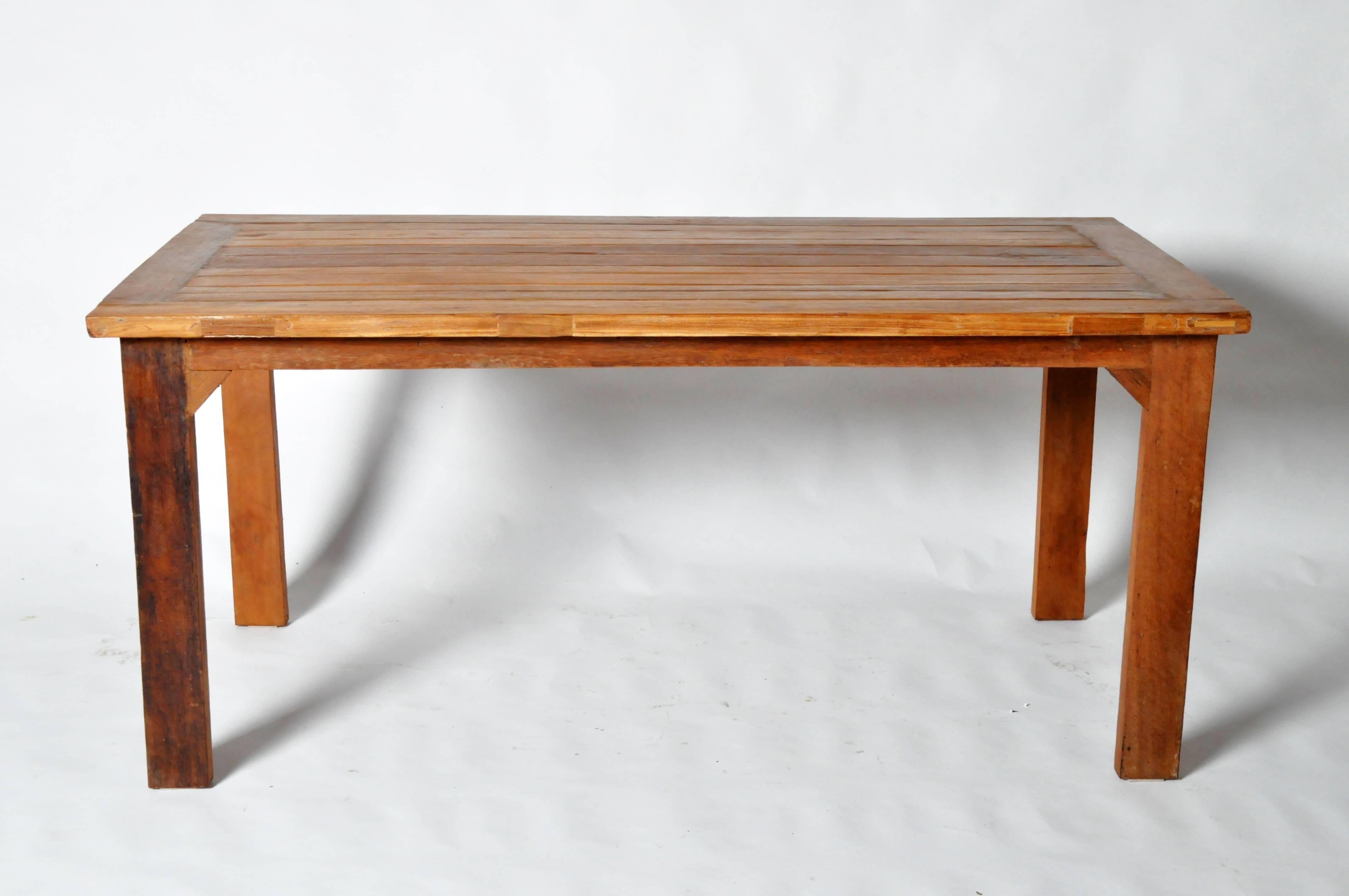 Reclaimed teak wood table for sale at 1stdibs