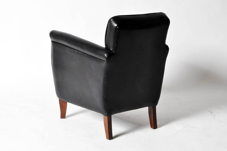 Pair Of Petite Leather Club Chairs At 1stdibs