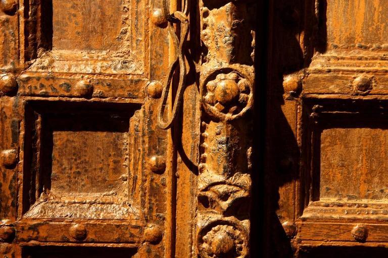 Wood Impressive Carved Indian Entrance Door For Sale