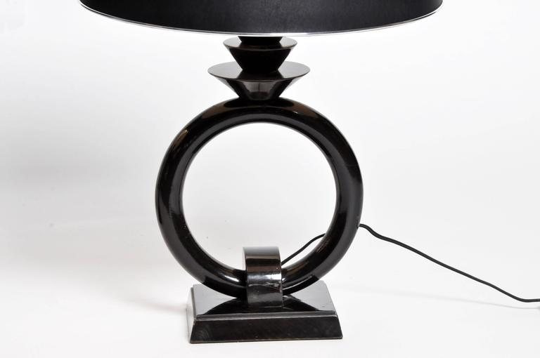 Mid-Century Lamp with Black Lacquer For Sale at 1stdibs