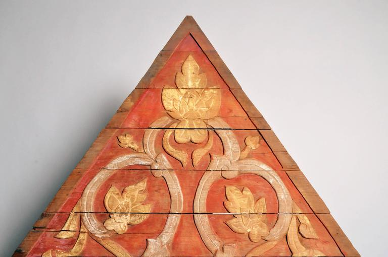 19th Century Teakwood Architectural Gable Fragment For Sale