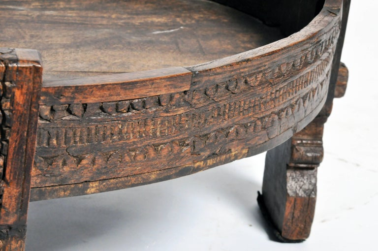 Carved Round Low Wooden Table At 1stdibs