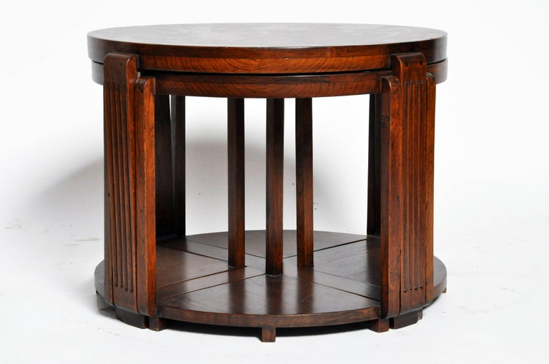 Art deco round coffee table with four nesting tables for for Round stacking coffee table