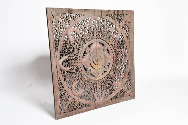 Carved Ceiling Panel with Flower Motifs 3