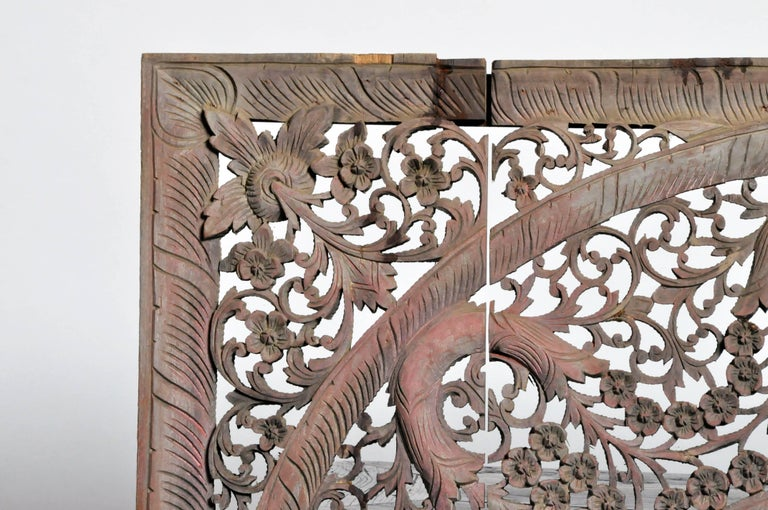 Carved Ceiling Panel with Flower Motifs 4