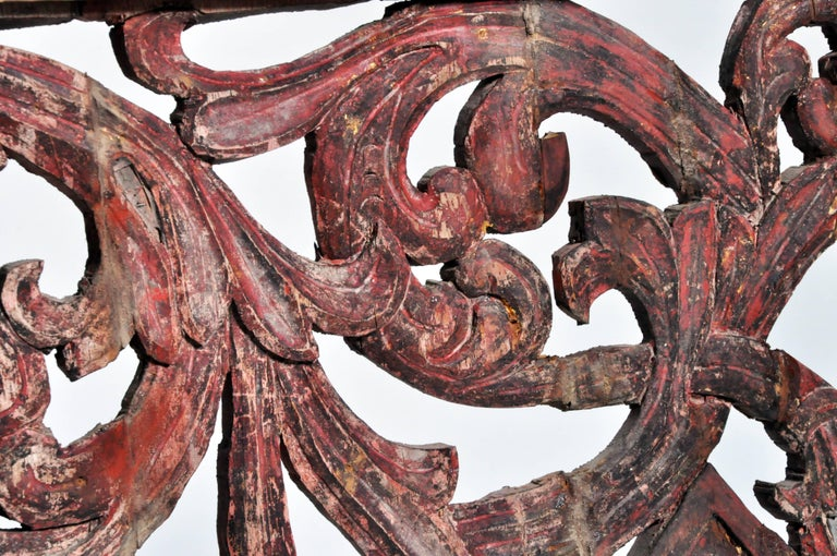 Teak Carved Temple's Entrance Arch with Original Color For Sale