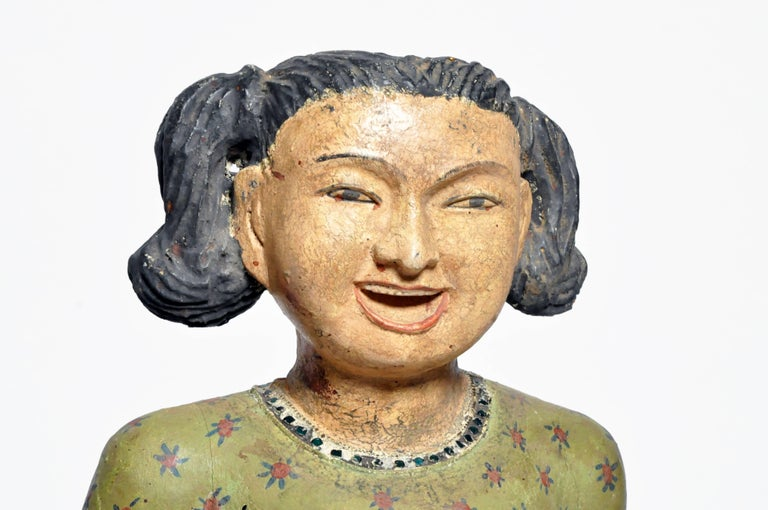 Contemporary Carved Sculptures of Burmese Dancers For Sale