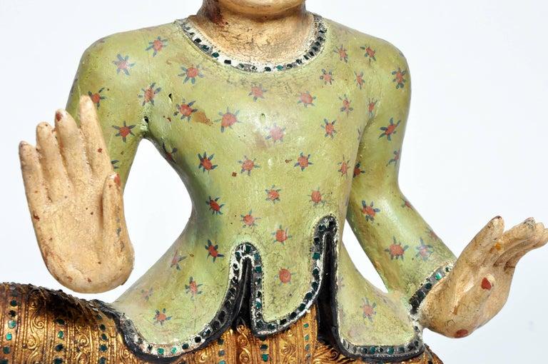 Teak Carved Sculptures of Burmese Dancers For Sale