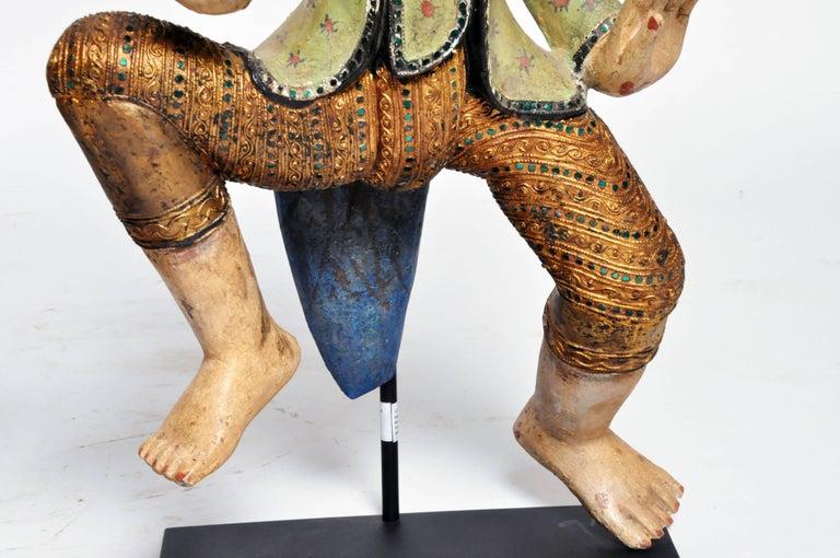 Carved Sculptures of Burmese Dancers For Sale 1